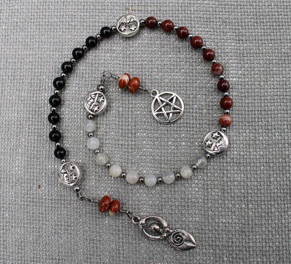Pentacle Triple Goddess Pagan Prayer Beads Spiral by inkleing, $24.50