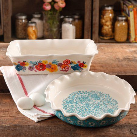 "The Pioneer Woman Flea Market Decorated 9"" Ruffle Top Pie Plate and 2.3-Quart Ruffle Top Bakeware - Walmart.com $19.72"