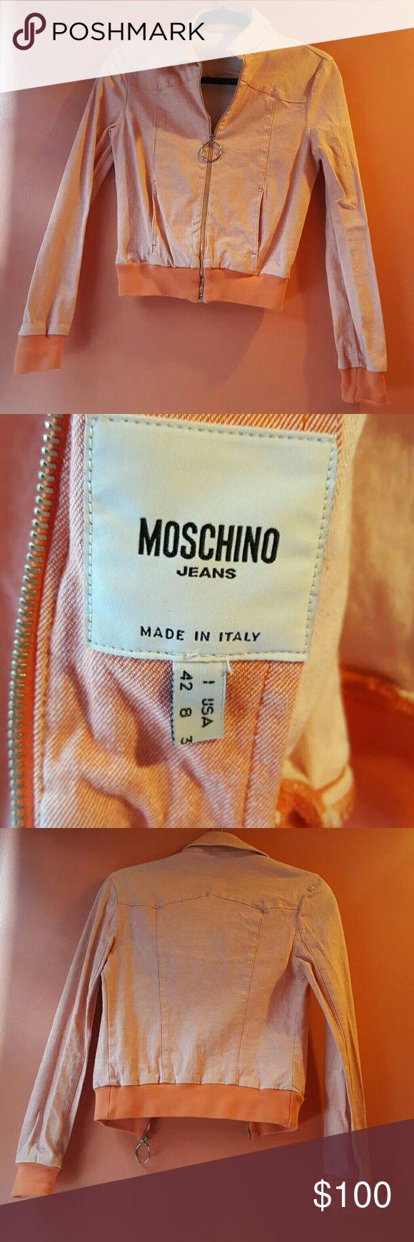 MOSCHINO  orange jacket size 42/8 Orange denim  zip up jacket Moschino Jackets & Coats Jean Jackets