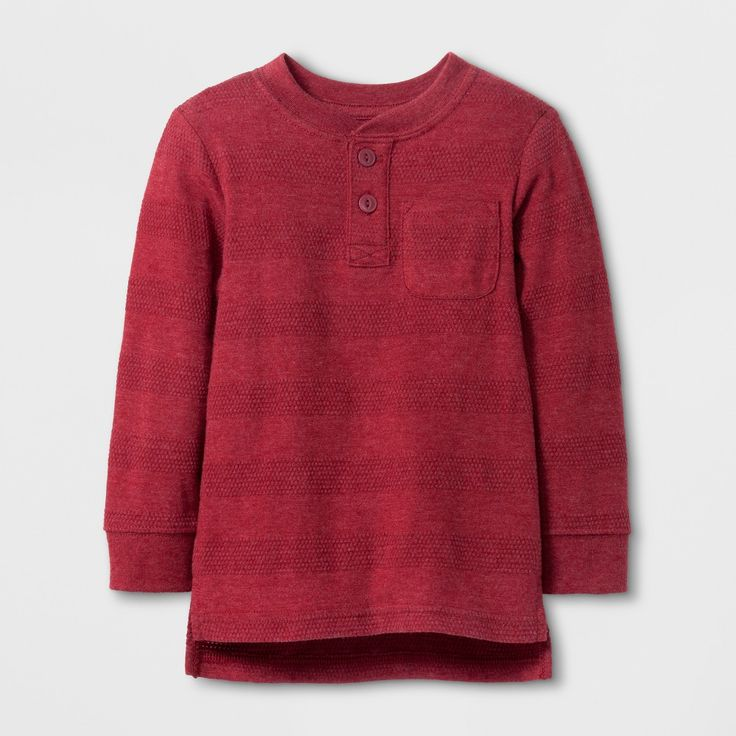 Toddler Boys' Long Sleeve Henley Cat & Jack Dark Red