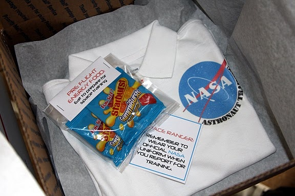 """Invitation came in a USPS box - Inside, a """"uniform"""" (shirt), """"preflight energy food"""" (starburst)!: Astronaut Birthday Party, Decoration Idea, Life Frostings, Astronaut Training, Shirts Idea, Party Idea, Astronaut Party, Training Party, Outer Spaces Party"""