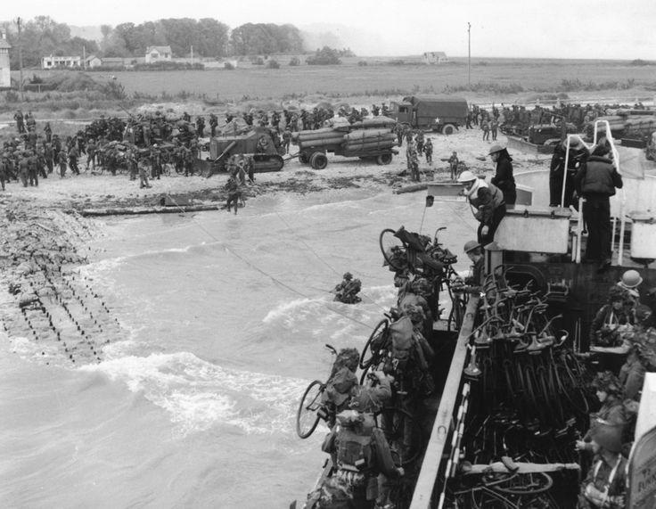 Soldiers of the 2nd Canadian Flotilla establish a beachhead code-named Juno Beach, near Bernieres-sur-mer on June 6, 1944.
