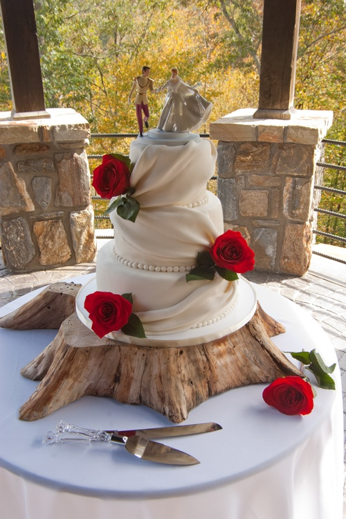 fondant draped wedding cakes