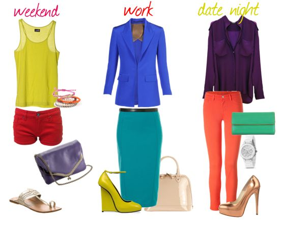 color blocking...I want those yellow wedges!!!