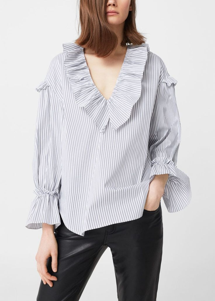 Ruffle printed blouse -  Women | MANGO USA