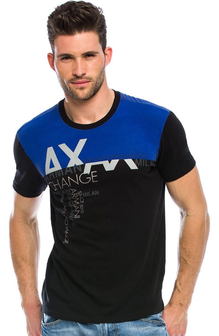 Sliced Logo T-Shirt - Crew Neck Tees - Tee Shirts - Mens - Armani