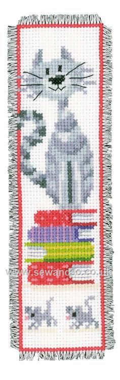 Shop online for Cat on Book Pile Bookmark Cross Stitch Kit at sewandso.co.uk.