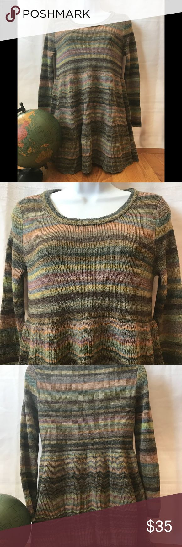 Moth nwot striped baby doll tunic sweater anthro The sweater has never been worn before. Armpit to armpit measures 21 inches in length from under the collar measures 31 inches. Love the creative stripes and the great colors for spring Anthropologie Sweaters Crew & Scoop Necks