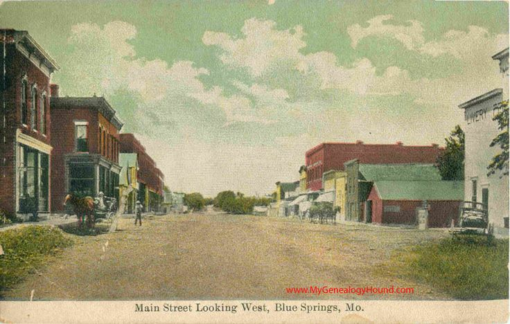 Blue Springs, Missouri, Main Street Looking West, vintage postcard, Historic Photo