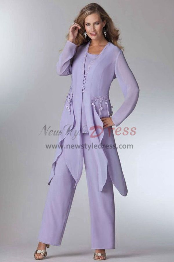 0b816b302e8 Lavender Mother of the bride pant suits dress Layered Wedding party Trouser  outfit Custom-made nmo-459