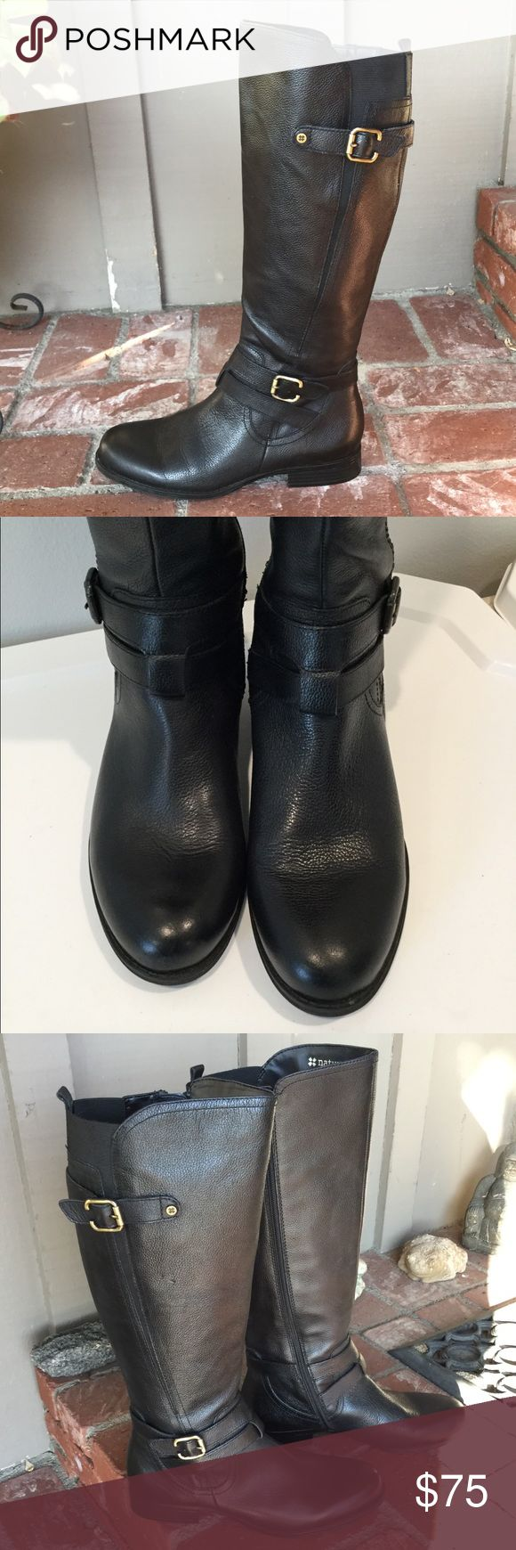Naturalized Boots In great condition, only worn twice. Paid $198, my loss your gain.💖 They are a nice black tone & the leather is amazing. Does have gold buckles. Zippers work great. Has slight indentations, not really noticeable, it was like this when purchased. Refer to 3rd pic. Has stretch band at the calves which is great.  Tag says 9W.  These are great if you're a size 9 because you can wear with thick sock or if you need that extra wiggle room as a size 9W. Either way these boots are…
