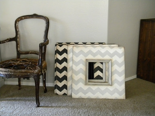 Chevron frames on a fun colored accent wall. Maybe for the hallway or entryway....