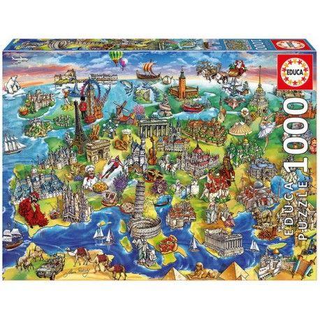 Rajzolt világ - Európa térkép, Educa Puzzle 1000 darabos