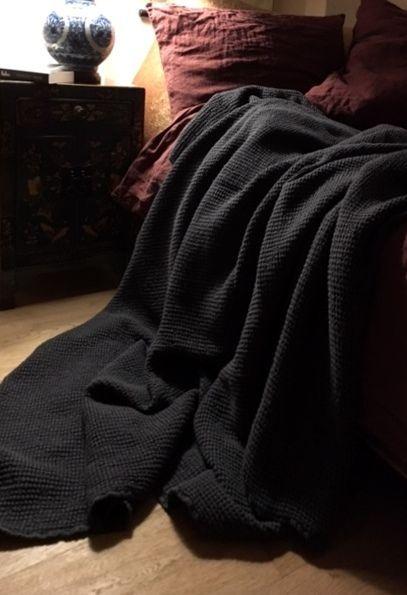 XXXL Bettüberwurf Plaid Decke Leinen vorgewaschen Anthrazit 230 x 270 cm
