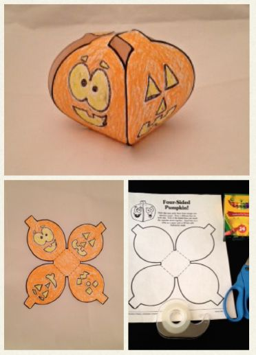 Students decorate, cut out, and assemble this pumpkin party favor.  #HalloweenFun #HalloweenClassRoomCraft #Halloweenpartyfavor