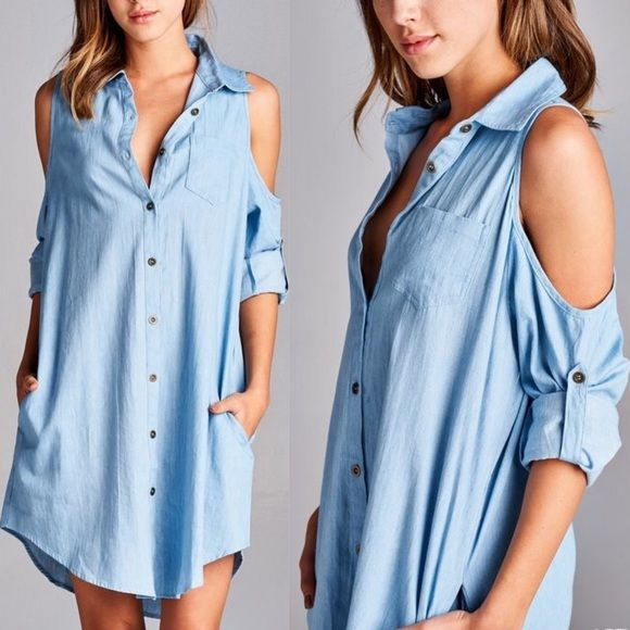 CARABELLE open shoulder denim dress - MED Solid, denim shirt dress featuring an open shoulder design with button tabs & pockets. Unlined! Non-sheer. Lightweight. NO TRADE, PRICE FIRM ONLY MEd denim (pic 3) AVAILABLE Bellanblue Dresses Midi