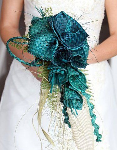 Large loose teardrop woven flax flower  bouquet. A flax bouquet