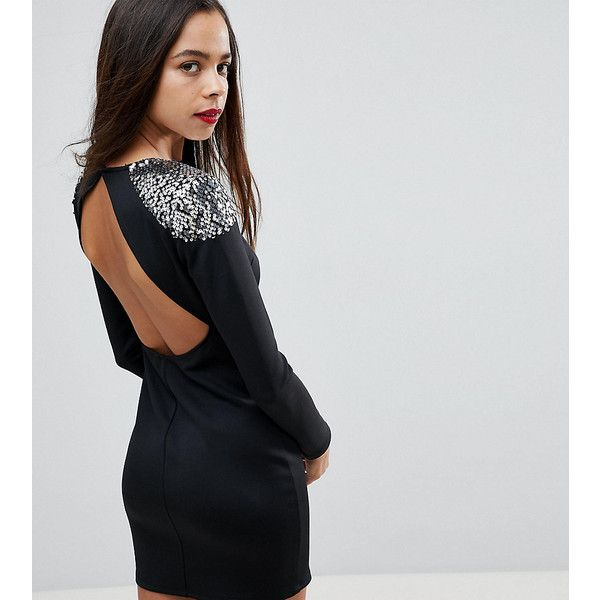 ASOS PETITE Embellished Shoulder Bodycon Open Back Mini Dress ($55) ❤ liked on Polyvore featuring dresses, black, short denim dress, petite bodycon dresses, denim mini dress, denim bodycon dress and open back dresses