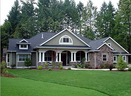 Some and siding combo...white pillars trim