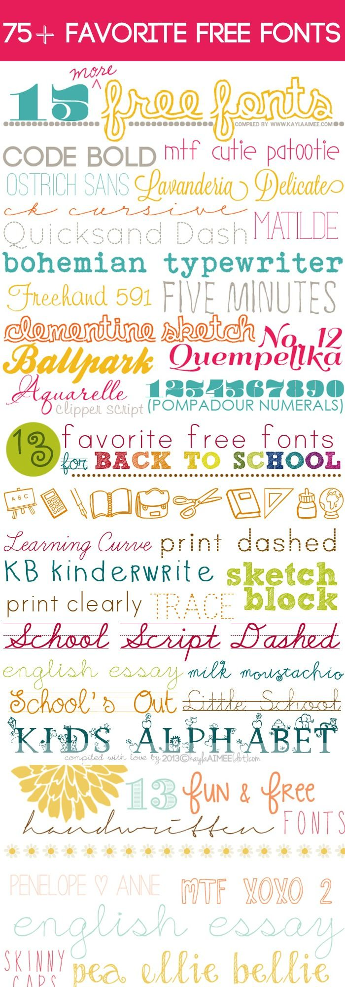 a collection of 75+ Favorite Free Fonts via @Kayla Aimee