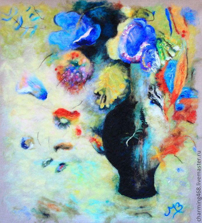 Купить По мотивам пастели Одилона Редона - разноцветный, картина, картина в подарок, картина шерстью