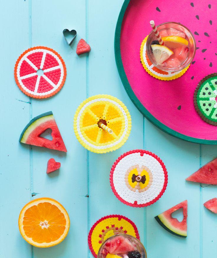 Fruchtalarm! Glasabdeckung und Untersetzer mit Bügelperlen
