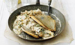 John Dory with lemon thyme and wild mushrooms