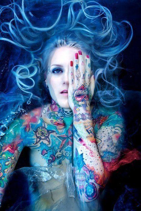 Blue blue moon of Kentucky: Ink Art, Blue Hair, Body Art, Hands Tattoo, Alternative Hair, Hair Looks, Body Tattoo, Tattoo Ink, Blue Tattoo