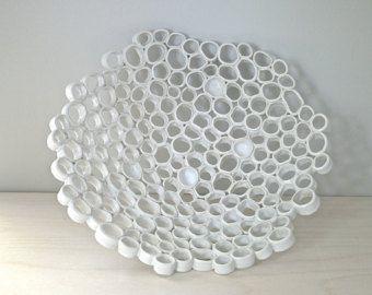 Bianco cesto di frutta, regalo di nozze, arredamento casa organico minimo, centrotavola, ceramica contemporanea OOAK, ordine personalizzato