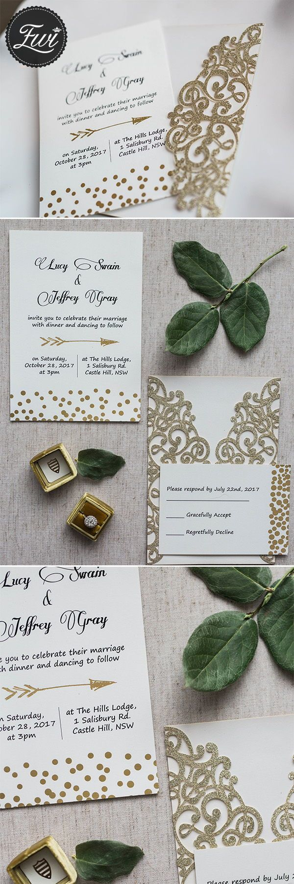 Luxury Gold Cupid's Arrow Polka Dots Laser Cut Wedding Invitation Kits EWWS210 #glitterweddinginvitations #lasercutweddinginvitations