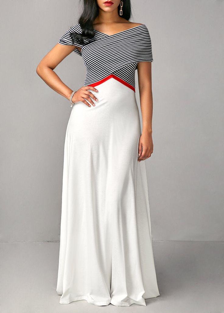 Stripe Print Criss Cross Shoulder White Dress  on sale only US$35.84 now, buy cheap Stripe Print Criss Cross Shoulder White Dress  at liligal.com