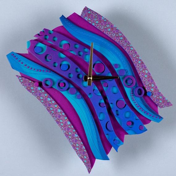 Sunset Diagonal Art Clock Sculpture Free Form by MysticDreamerArt, $65.00