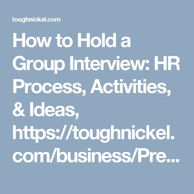 Group interview activities