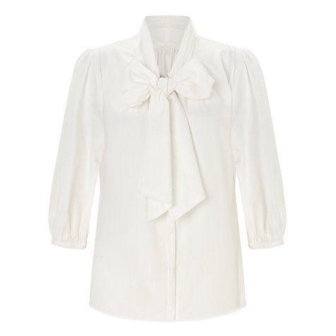 Купить Сомерсет на Элис Темперли Хлопок Tie шеи блузка, Cream Online на johnlewis.com