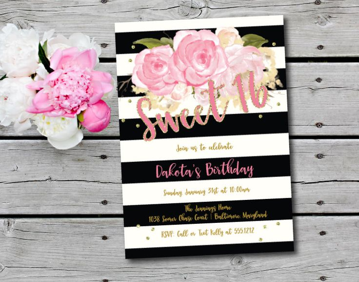 Sweet Sixteen Invitation, Sixteenth Birthday Invitation, Printable, DIY, Birthday Party Invitation, Gold and Pink by Oohlalovely on Etsy https://www.etsy.com/listing/270241641/sweet-sixteen-invitation-sixteenth