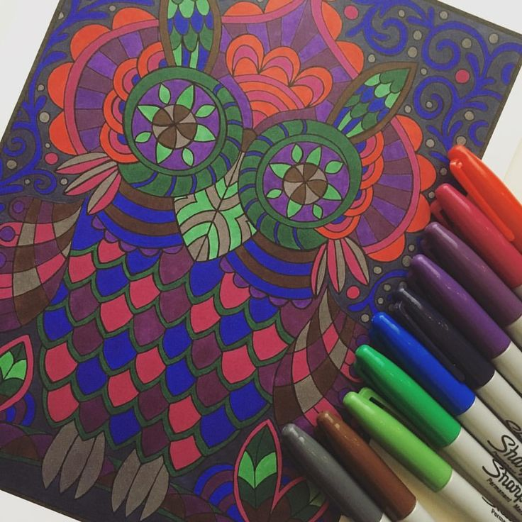 """Mental Images Coloring Books (@paivivesala_art) on Instagram: """"I forced myself to use only the colors of Sharpies I don't usually color with. Coloring book:…"""""""