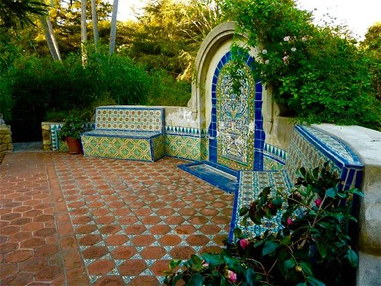 126 best mexican floor tile images on pinterest cement for Spanish garden designs