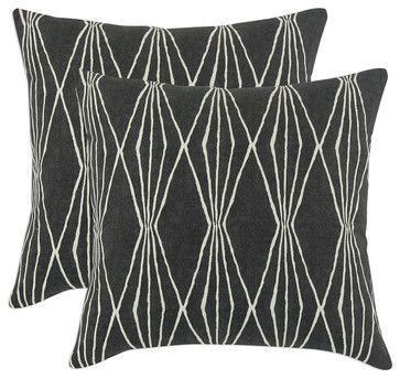 Diamond Pop Throw Pillows, Charcoal, Set of 2 transitional-decorative-pillows