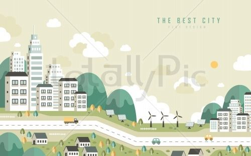 the best city scenery in flat design