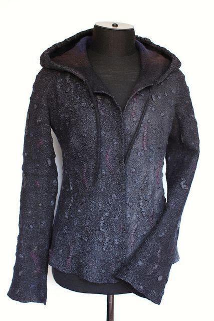Nuno felted hooded jacket