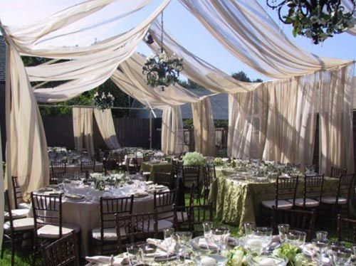 Curtain Garden Wedding Decoration ... somthing like this somewhere lol