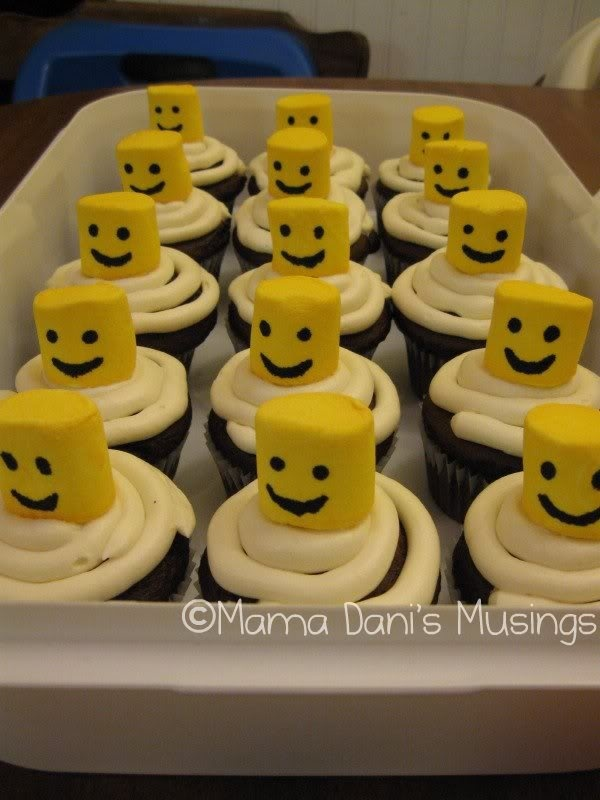 Lego Cupcakes - maybe marshmallow in yellow chocolate melts and edible marker face