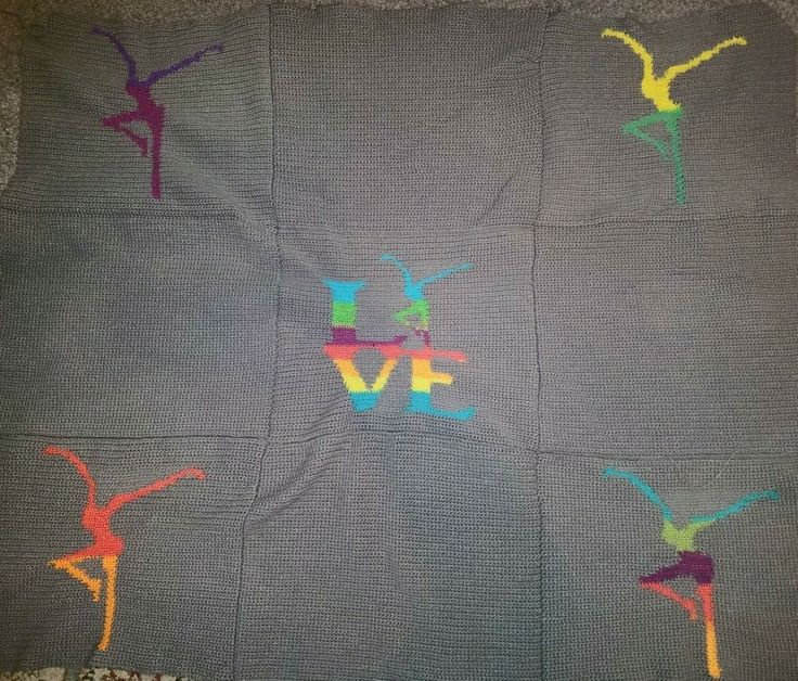 Crochet firedancer blanket. 9 separate panels stitched together with a soft fabric backing
