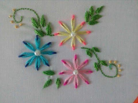 Flores en Puntada Margarita Doble Color Bordado a Mano - YouTube