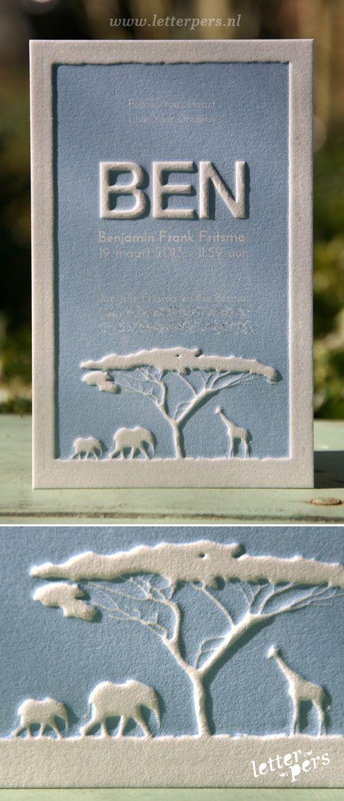 letterpers_letterpress_geboortekaartje_ben_afrika_olifant_giraffe_preeg