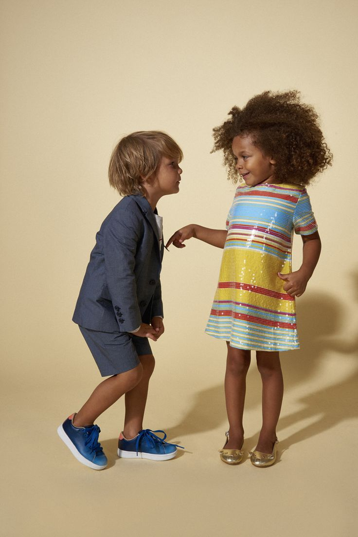 Fabulous deck chair stripes in sequins and a cute boys shorts suit by Little Marc Jacobs at House of Fraser for spring 2016 kidswear