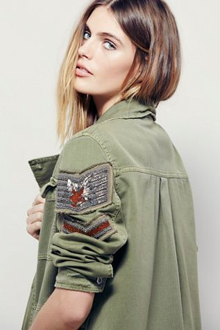 Free People Embellished Military Shirt Jacket at Free People Clothing Boutique