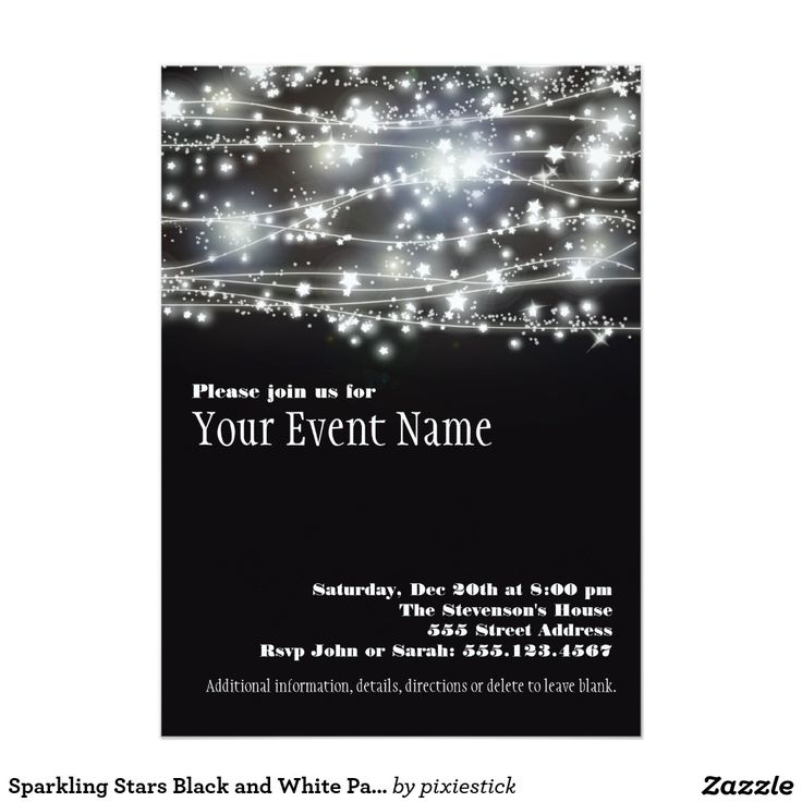 make your own birthday party invitations online for free%0A Sparkling Stars Black and White Party Invitation