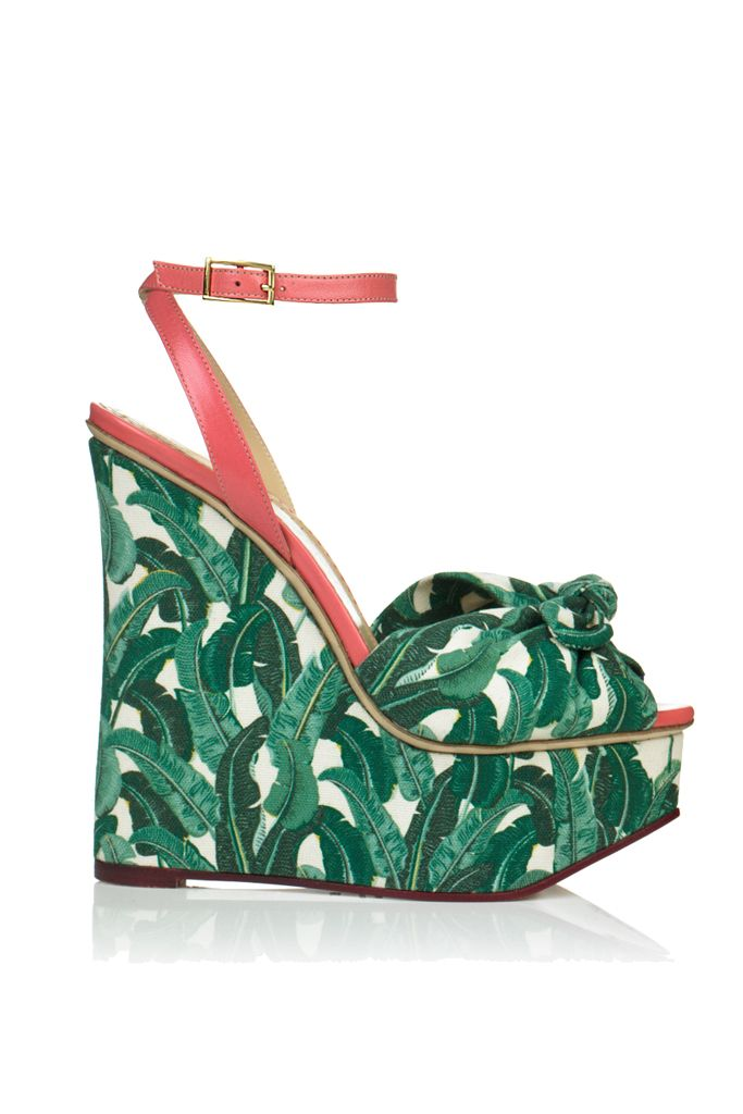 Charlotte Olympia shoes - the banana leaf print mimics the martinique wallpaper at the beverly hills hotel and indochine...