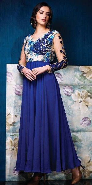 Tranquil Blue Silk Printed Gown.